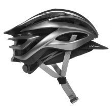 Black Halo Cycling Cap side view with helmet