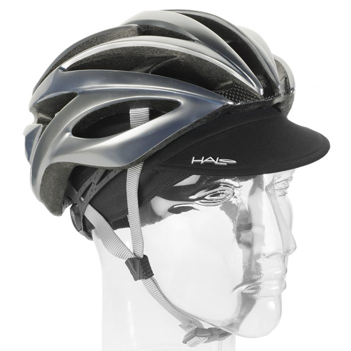 Black Cycling Cap Down with Helmet