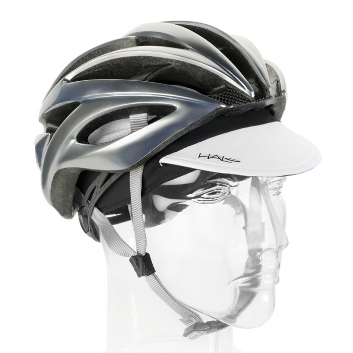 White Cycling Cap Down with Helmet